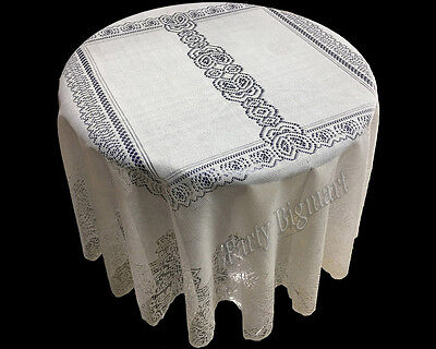 New Round Table Cloth Cover 150cm White Lace Pattern Table Decoration-AU STOCK