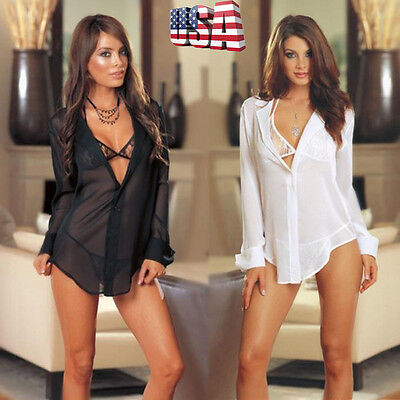 3PCS Women Lingerie Nightwear Underwear Babydoll Sleepwear Shirt G-string Thong