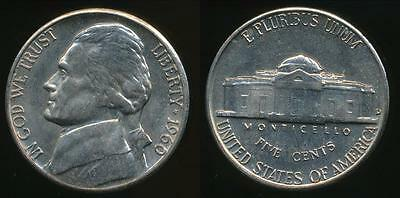 United States, 1960-D 5 Cents, Jefferson Nickel - Uncirculated