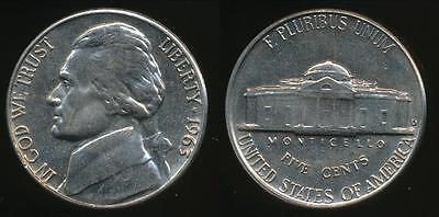 United States, 1963-D 5 Cents, Jefferson Nickel - Uncirculated