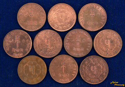 LOT OF 10 COINS NEPAL 5 PAISA 1965 WHOLESALE KM#758a BRASS AU/UNC MIXED DATE