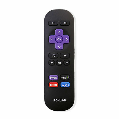 New Replaced Remote for Roku 1 2 3 4 w MGO/Amazon/Netflix/Vudu keys LT HD XD XS
