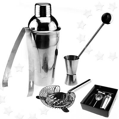 5pcs Stainless Steel Home Cocktail Shaker Wine Party Mixer Tool Set With Case AU