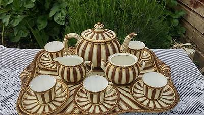 Antique Rare Royal Crown Derby Brown & White with gold Cabaret set
