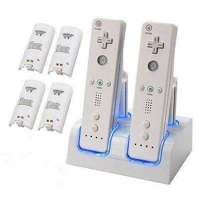 For Nintendo Wii Remote Dual Charger Dock + 4 Rechargeable Battery Video Game