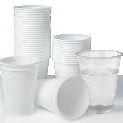 Plastic Disposable Cups or Glasses x 100 Clear/White 180ml. Perfect for Parties!