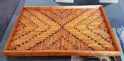 Vintage Match Stick Prisoner Folk Tramp Art Geometric Timber Tray