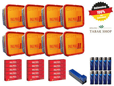 8 x Pall Mall Allround Red Mega Box 210g, 3000 Extra-Hülsen, Gizeh Vario-Stopf..