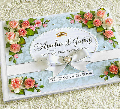 Beautiful Personalised Wedding Guest Book - ivory/white, floral, Design 1