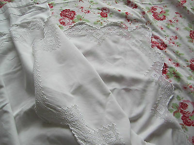 King Size Vintage Cotton Sheet With Crochet Lace.