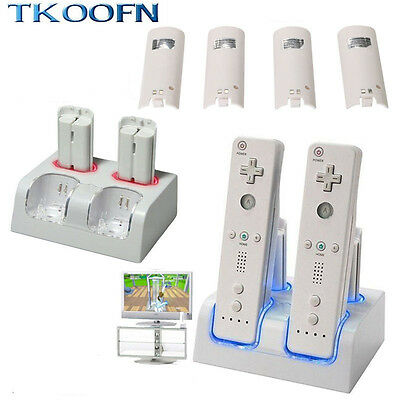 New Dual Remote Controller Charger Dock Cradle Station + 4 Battery Packs For Wii