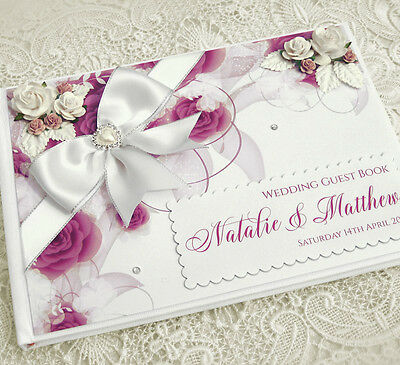Beautiful Personalised Wedding Guest Book - ivory/white, floral, Design 2
