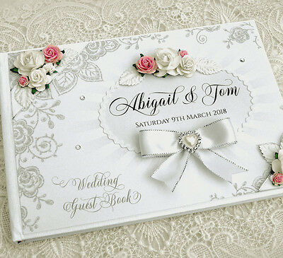 Beautiful Personalised Wedding Guest Book - ivory/white, floral, Design 3