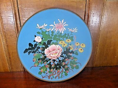 "EXCELLENT ANTIQUE Japanese CLOISONNE MEIJI large FLORAL CHARGER - 12"" - B"