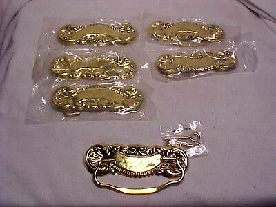 6 Victorian Stamp Brass   Drawer Pulls Handles