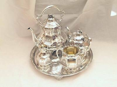 Rare Cased Hm Sterling Silver 4 Piece Tea Set & Salver