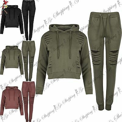 Womens Girls Laser Cut Out Top Bottom Cropped Hoodie Jogging Gym Yoga Tracksuit