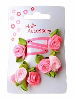 Girls Pink Ribbon Rosebud Mini Hair Grips Clips Sleepies Small Ponios Bands