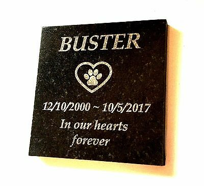 Pet Dog Memorial Personalised Laser Engraved Black Granite no holes 100x100mm