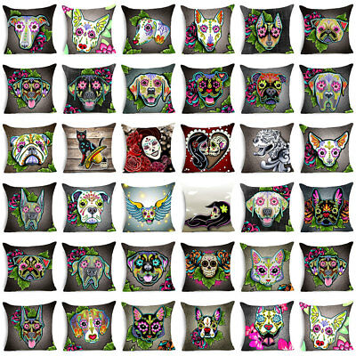 Day of The Dead Dog Polyester Cushion Cover Sofa Throw Pillow Case Home Decor