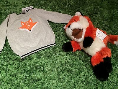 NEW Manhattan Toy FOX PUPPET Baby Soft Plush Animal + FOX Jumper Sweater Sz 00