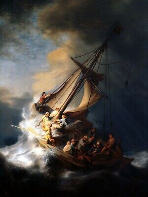Christ in the Storm on the Lake of Galilee Fine Art Painting Rembrandt Print A4