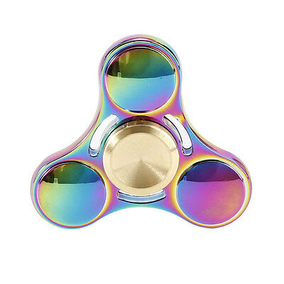 Gold Rainbow EDC Hand Spinner Tri Fidget Focus Desk Toys Gift Stuffer Kids/Adult
