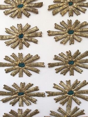 10 Pc Antique Ottoman Turkish Silver Metallic Hand Embroidery For Applique N:1