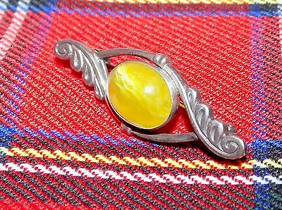 Vintage Hallmarked Sterling Silver Brooch with Polished Iona Marble Cabochon