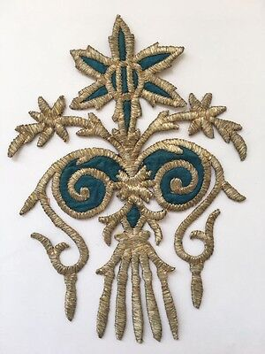 ANTIQUE OTTOMAN TURKISH SILVER METALLIC HAND EMBROIDERY FOR APPLIQUE 24cm