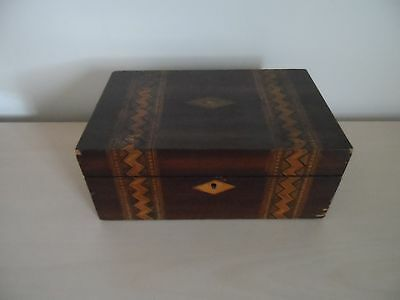 Antique wooden sewing / jewellery box with marquetry inlay
