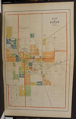 Wisconsin Fond Du Lac Couny Map City of Ripon 1910  2-Double Pages  J11#19
