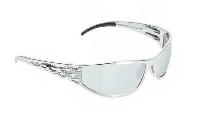 NEW ICICLES Baggers Flames Transition Mirror Lens Sunglasses with Silver Frame