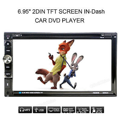 Double 2 Din In Dash Stereo Car DVD CD Player Bluetooth FM Radio SD/USB GPS Nav