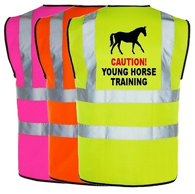Equine Hi Viz Vis Caution Young Horse Training Waistcoat Vest Equestrian Safety