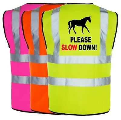 Equine Hi Viz Vis Please Slow Down Waistcoat Vest Equestrian Safety