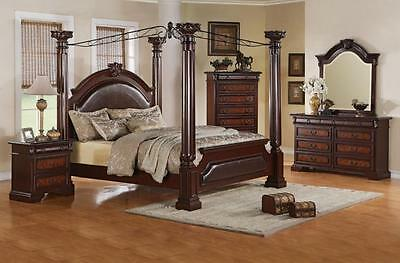 Neo Renaissance King Poster Canopy Bed wood Bedroom Furniture Set NEW
