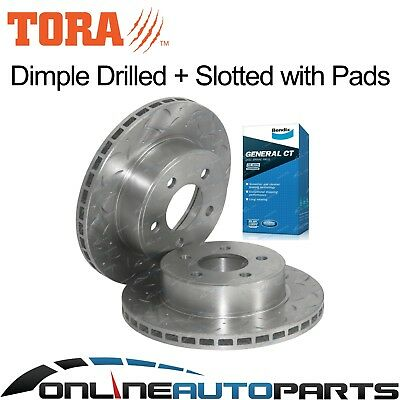 2 Front Bendix Disc Pads+Brake Rotors Drilled+Slotted Falcon AU 98-4/00 Series 1