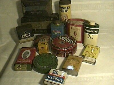 VINTAGE LOT of 15 ADVERTISING TINS Kitchen Doans Palmolive Prince Albert Crest