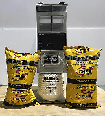 BUNN G9 Twin Hopper Coffee Grinder with 10 lbs free beans & 500 CF12 Filters