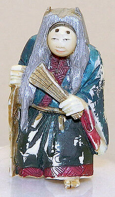 "SIGNED,Painted,Rotating Face,JAPANESE ANTIQUE 2"" NETSUKE Man With Fan & Stick"