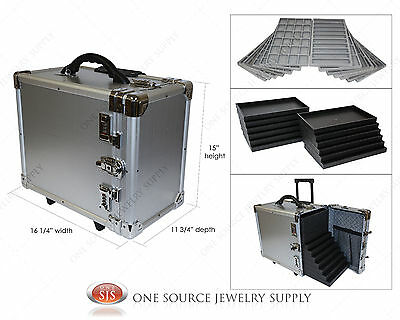 Carrying Case Aluminum Jewelry Salesman Travel Case & Jewelry Trays & Liners