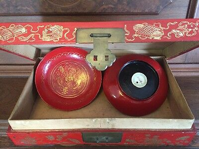 18th 19THC RED ANTIQUE CHINESE PIG SKIN BOX WEDDING (?) GOLD GILT 2 WOOD BOWLS