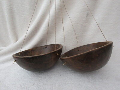 X 2 Carved Hardwood Hanging Bowls/baskets