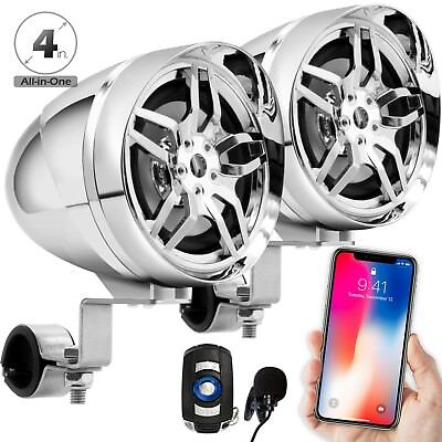 Chrome Motorcycle Bluetooth Wireless Stereo Speakers Audio System MP3 USB Radio