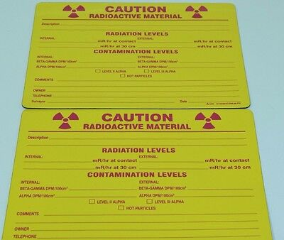 NEW Lot of (2) Safety Caution Radioactive Material Fill In Magnetic Sign USI
