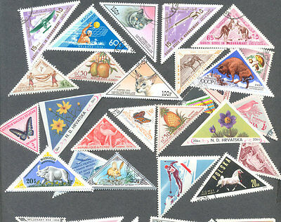 Triangular stamps 200 all different collection(s)-some locals-imperfs-Unusual-