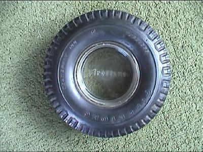 Firestone Rubber Transport 100 Tire Advertising Ashtray Cast Glass Serif Letters
