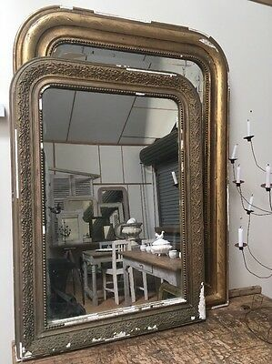 French Large Louis Philippe Rustic Gold Foxed Mirror. Perfect For Painting!!