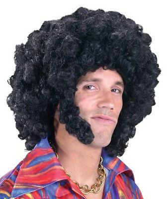 Afro with Sideburns Black 70s Big Daddy Men Costume Wig